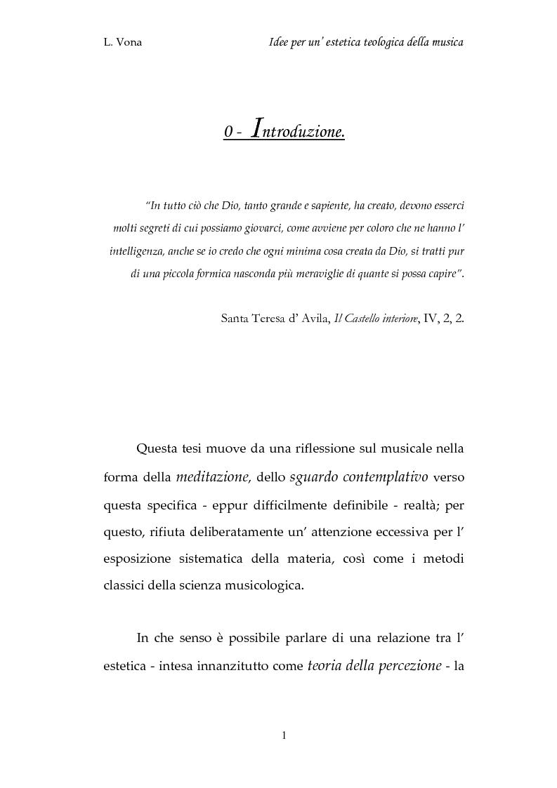 Anteprima della tesi: Idee per un'estetica teologica della musica, Pagina 1