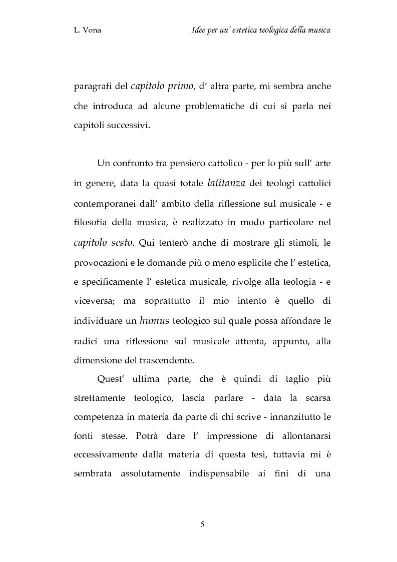 Anteprima della tesi: Idee per un'estetica teologica della musica, Pagina 5