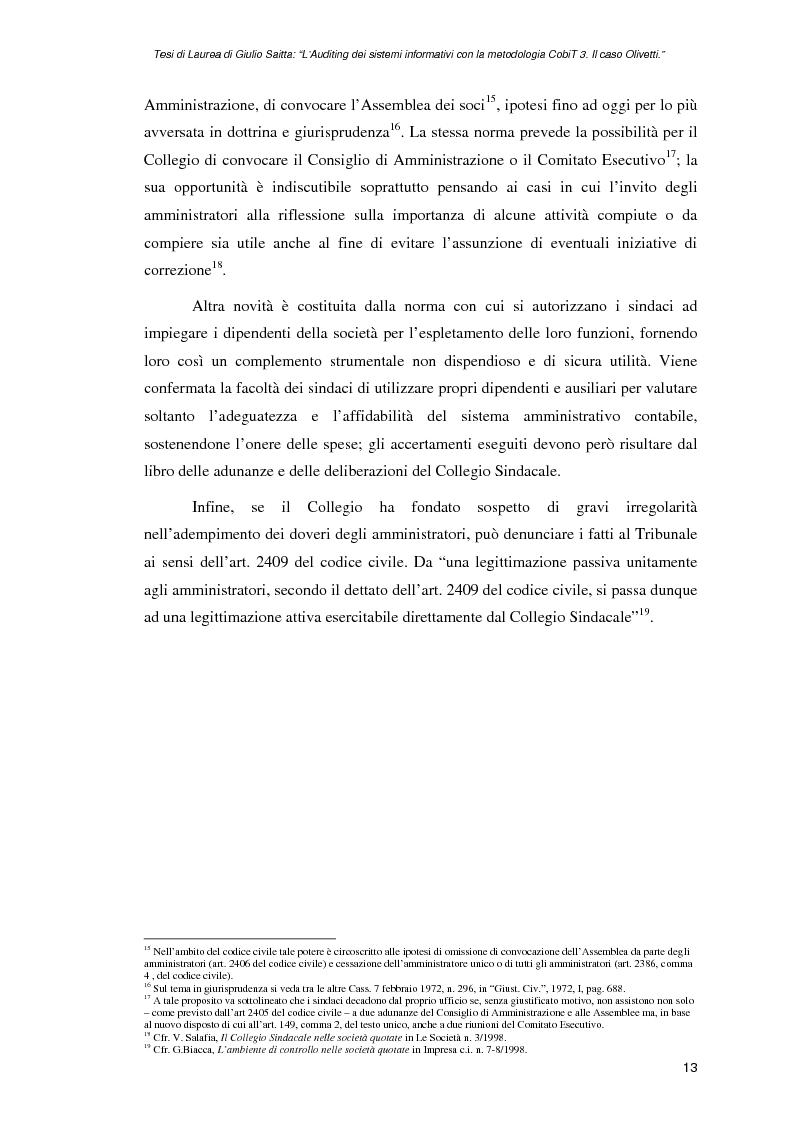 Anteprima della tesi: L'auditing dei sistemi informativi con la metodologia CobiT 3. Il caso Olivetti, Pagina 13