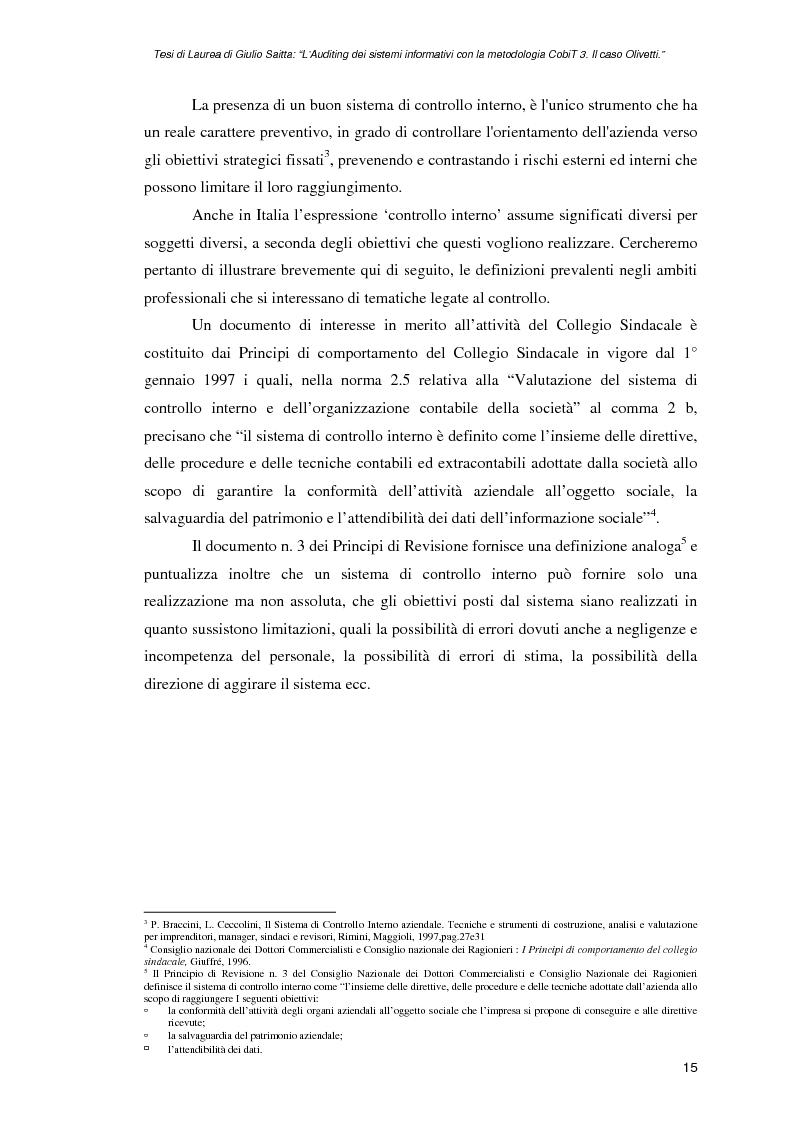 Anteprima della tesi: L'auditing dei sistemi informativi con la metodologia CobiT 3. Il caso Olivetti, Pagina 15