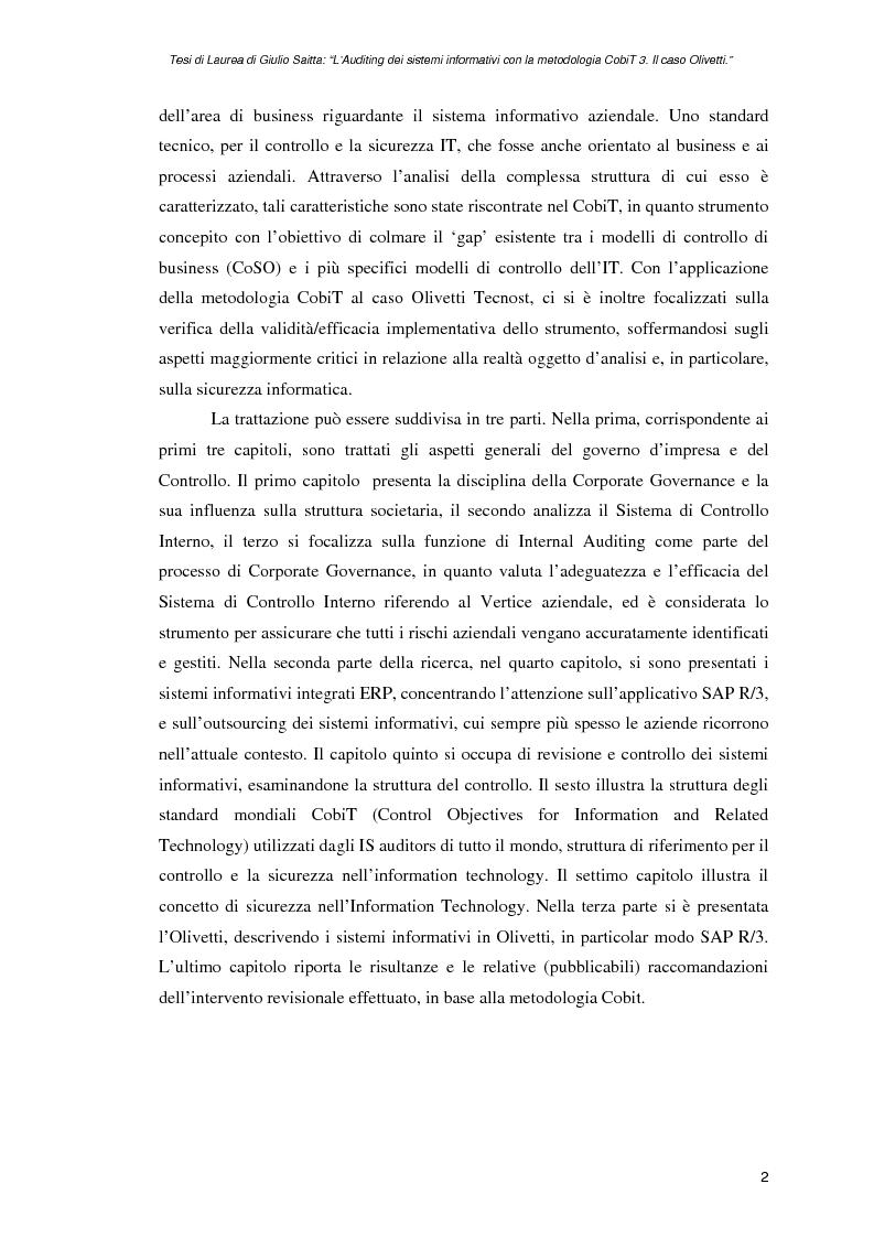 Anteprima della tesi: L'auditing dei sistemi informativi con la metodologia CobiT 3. Il caso Olivetti, Pagina 2