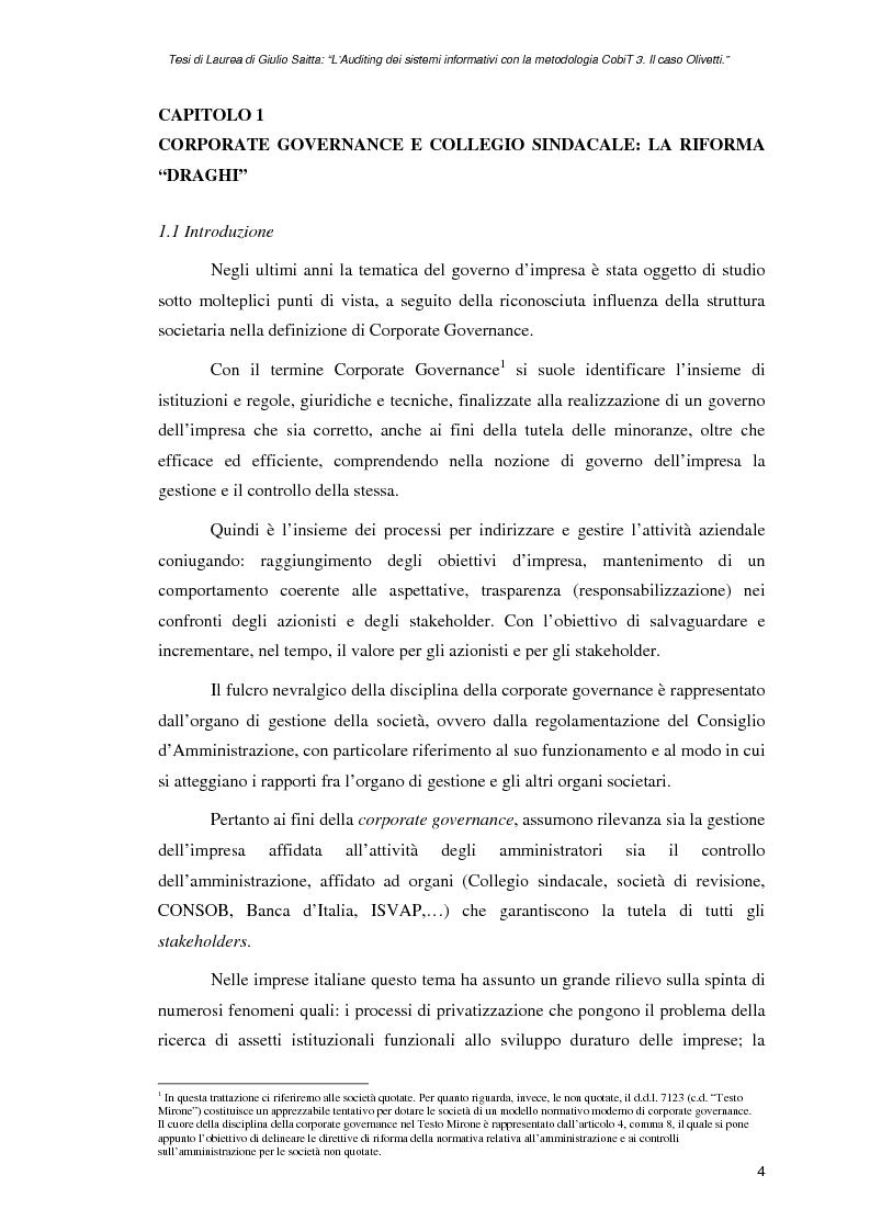 Anteprima della tesi: L'auditing dei sistemi informativi con la metodologia CobiT 3. Il caso Olivetti, Pagina 4