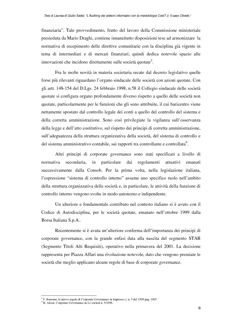 Anteprima della tesi: L'auditing dei sistemi informativi con la metodologia CobiT 3. Il caso Olivetti, Pagina 6