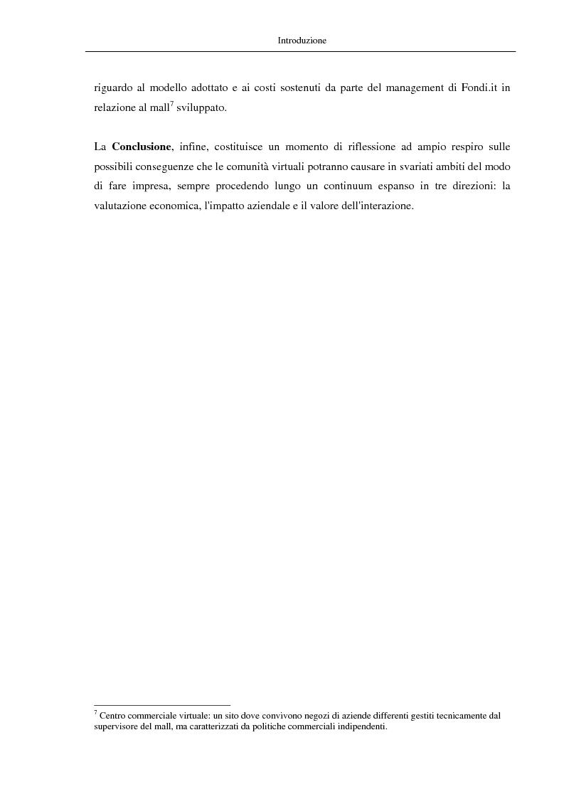 Anteprima della tesi: Nuovi modelli di business: le comunità virtuali. Il caso di Fondi.it, Pagina 5