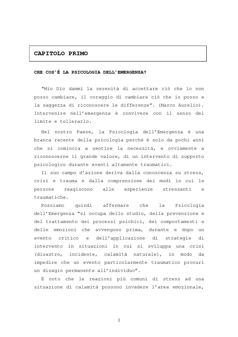 Anteprima della tesi: La formazione in psicologia dell'emergenza, Pagina 4