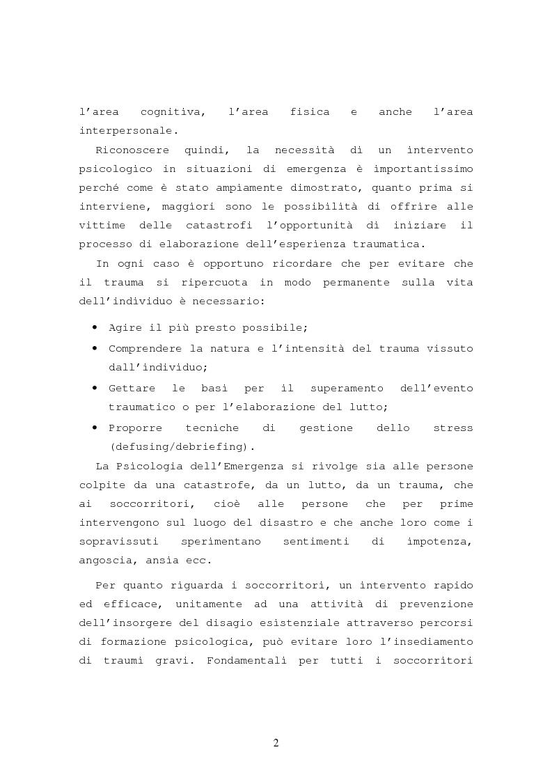 Anteprima della tesi: La formazione in psicologia dell'emergenza, Pagina 5