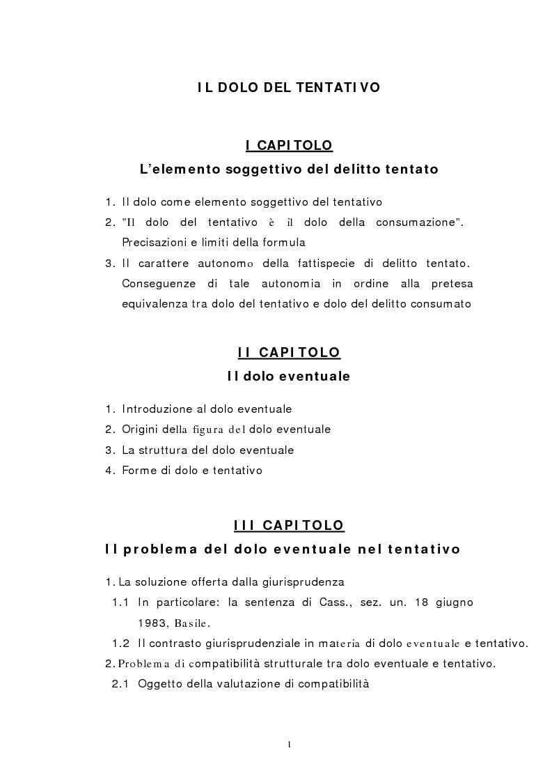 Indice della tesi: Il dolo del tentativo, Pagina 1