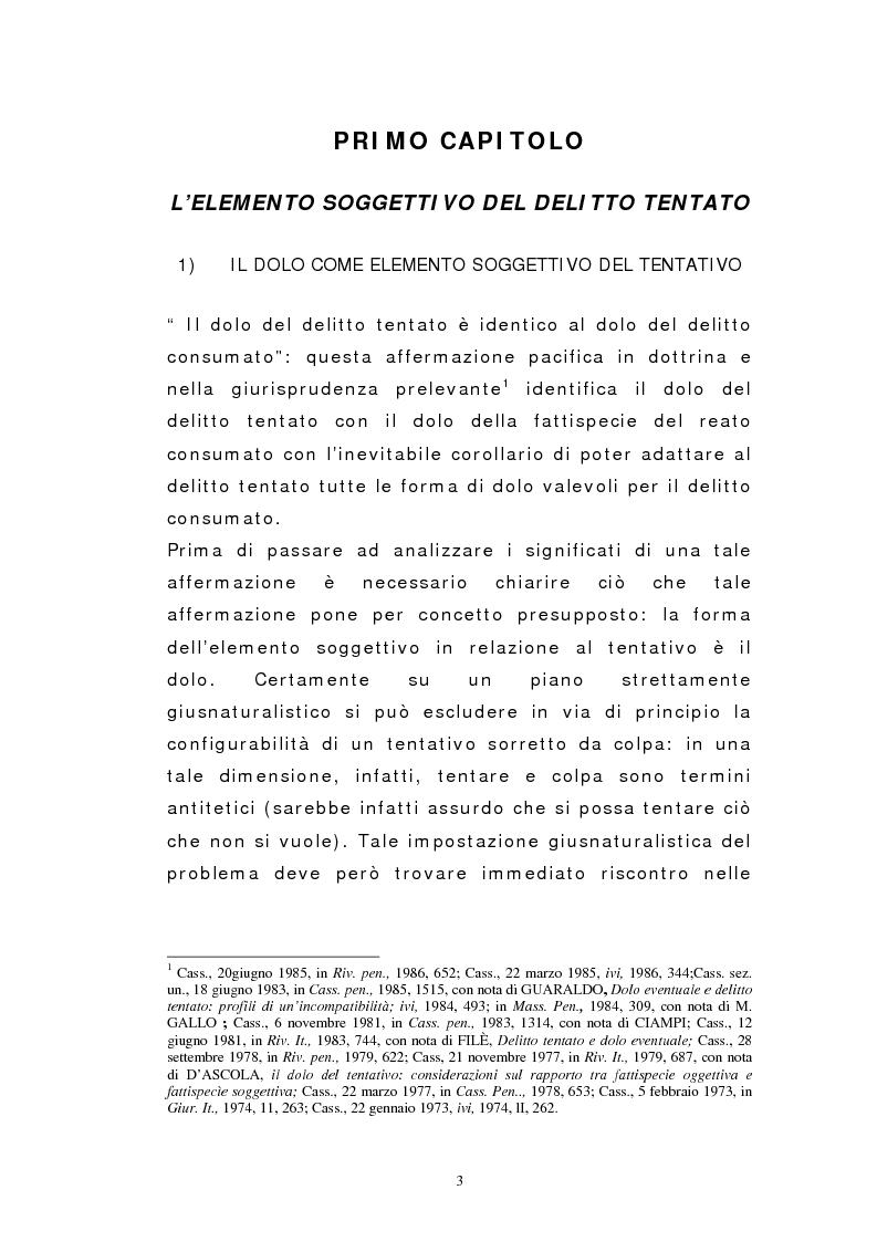 Anteprima della tesi: Il dolo del tentativo, Pagina 1