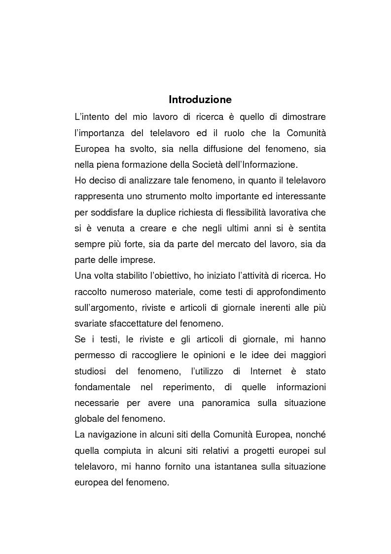 Anteprima della tesi: Il posto di lavoro flessibile: il telelavoro, Pagina 1