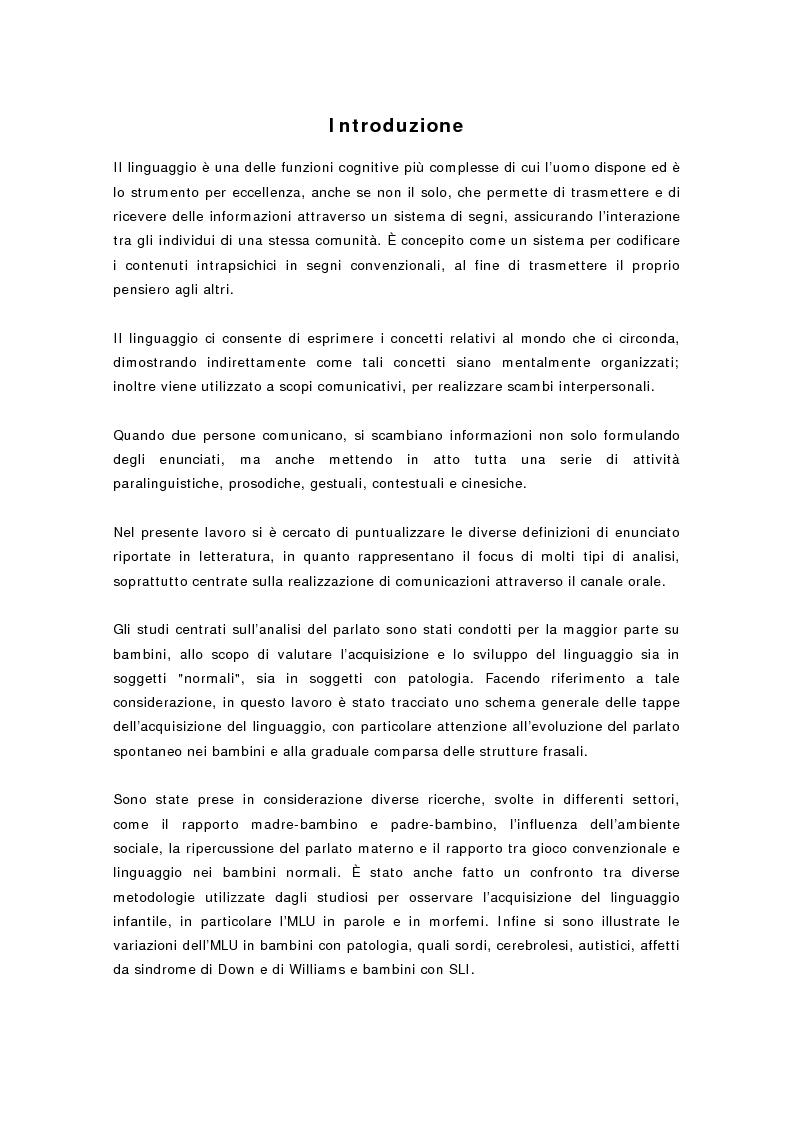 Anteprima della tesi: L'Mlu nel parlato del bambino, Pagina 1