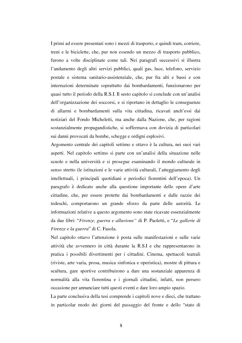 Anteprima della tesi: Vita quotidiana a Firenze nei mesi della Repubblica Sociale Italiana, Pagina 5