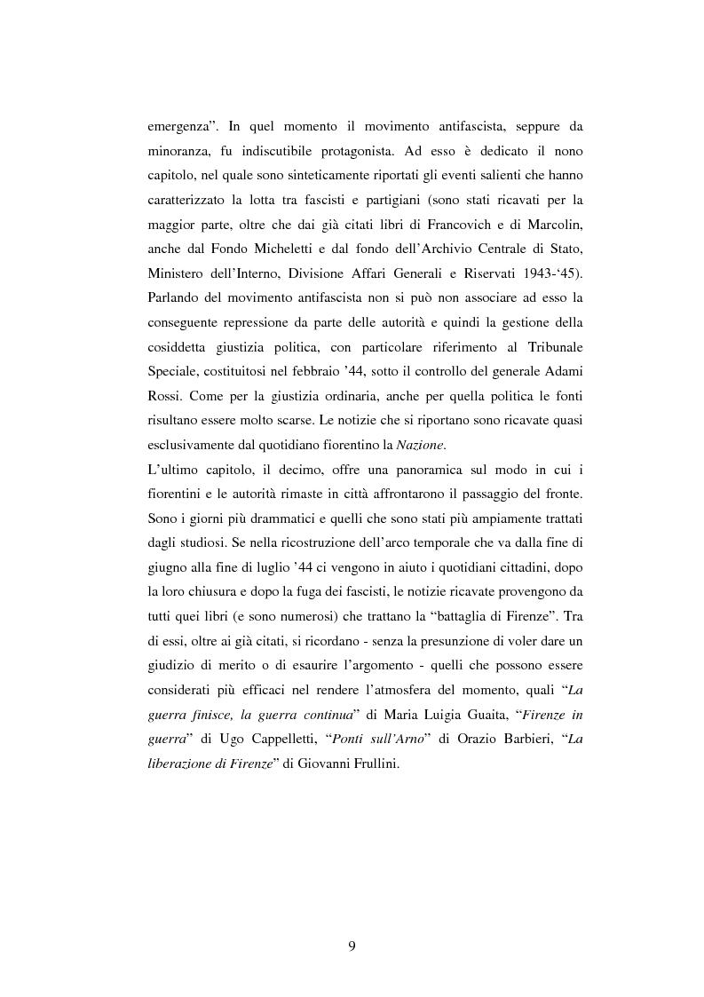 Anteprima della tesi: Vita quotidiana a Firenze nei mesi della Repubblica Sociale Italiana, Pagina 6