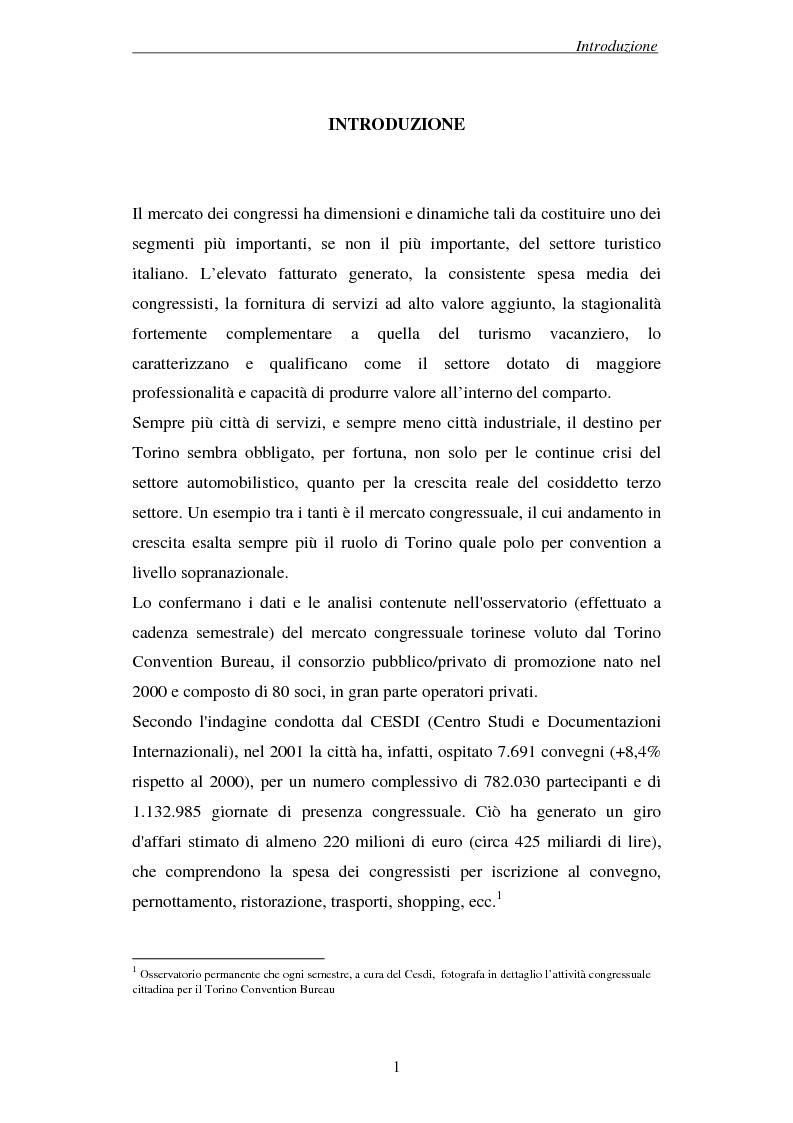 Anteprima della tesi: Associazioni e società medico-scientifiche in Piemonte: realtà congressuale e target strategico, Pagina 1