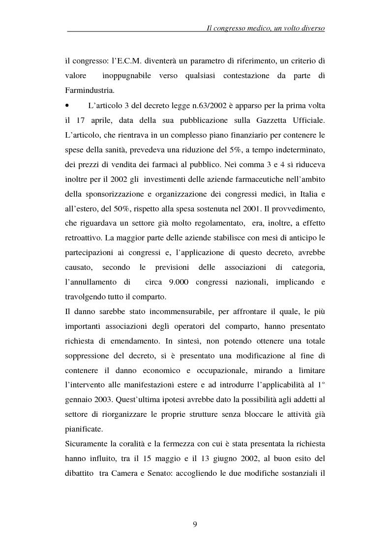 Anteprima della tesi: Associazioni e società medico-scientifiche in Piemonte: realtà congressuale e target strategico, Pagina 9