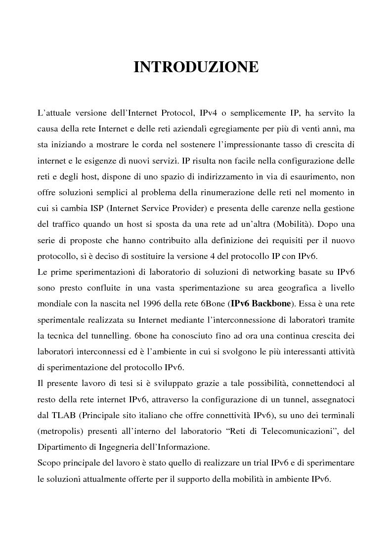 Anteprima della tesi: Realizzazione e sperimentazione di un trial IPv6 con supporto della mobilità, Pagina 1