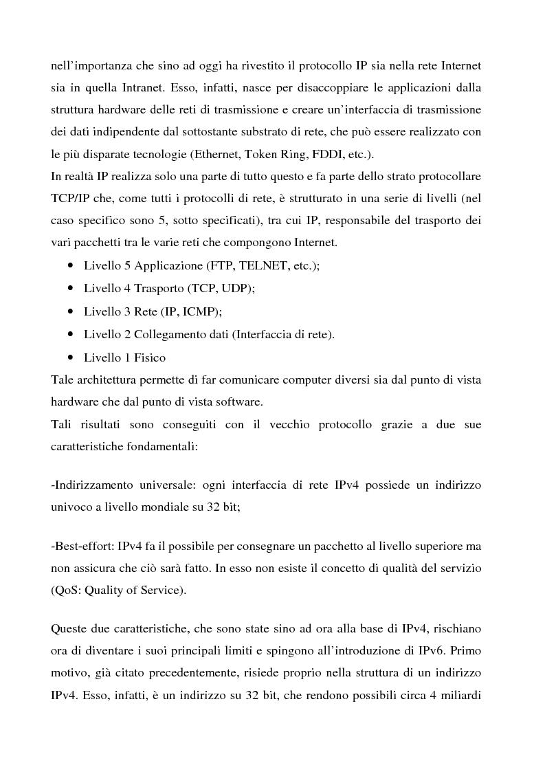 Anteprima della tesi: Realizzazione e sperimentazione di un trial IPv6 con supporto della mobilità, Pagina 4