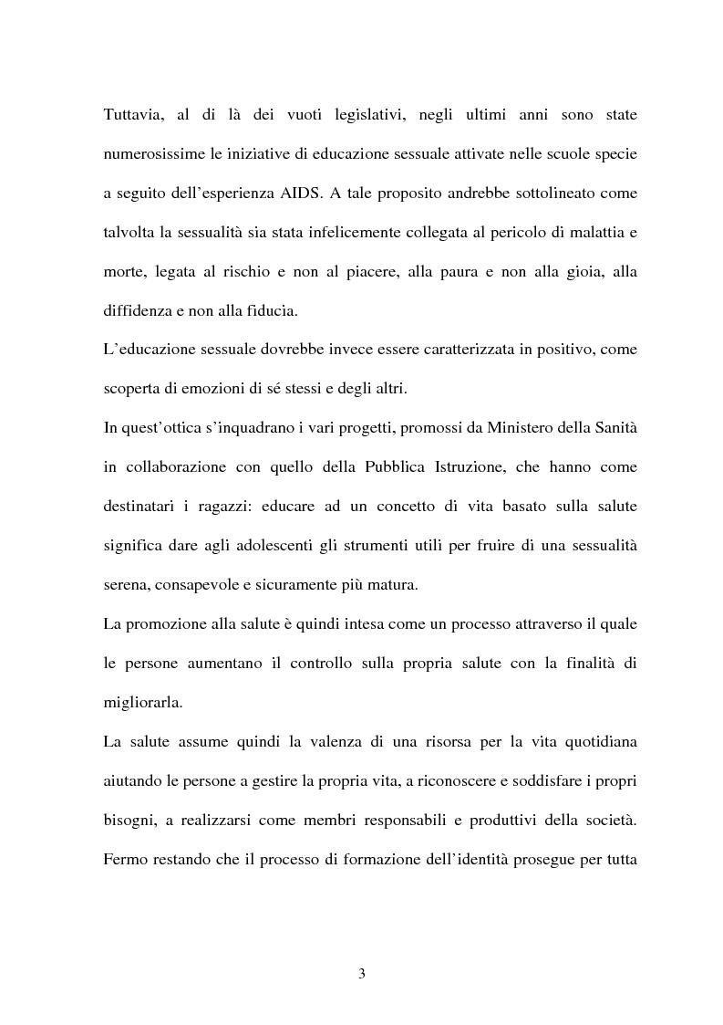 Anteprima della tesi: Adolescenti e informazione sessuale - Indagine conoscitiva tra 873 giovani del Nord, Centro e Sud Italia, Pagina 3