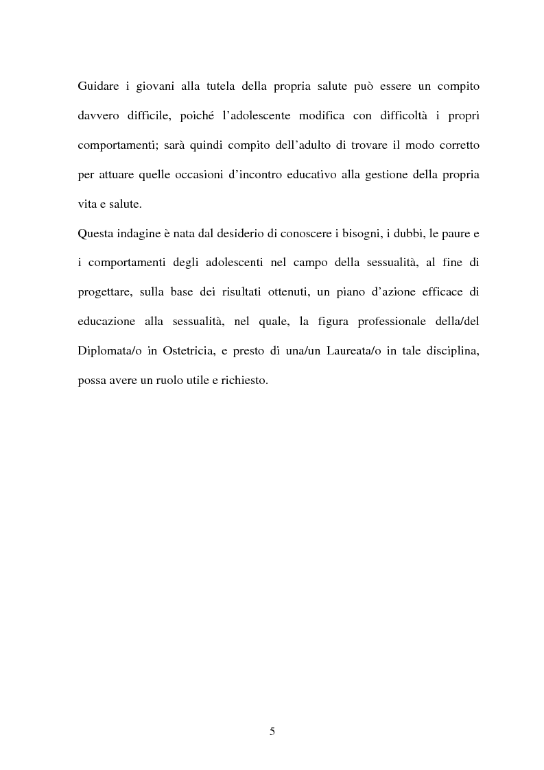 Anteprima della tesi: Adolescenti e informazione sessuale - Indagine conoscitiva tra 873 giovani del Nord, Centro e Sud Italia, Pagina 5