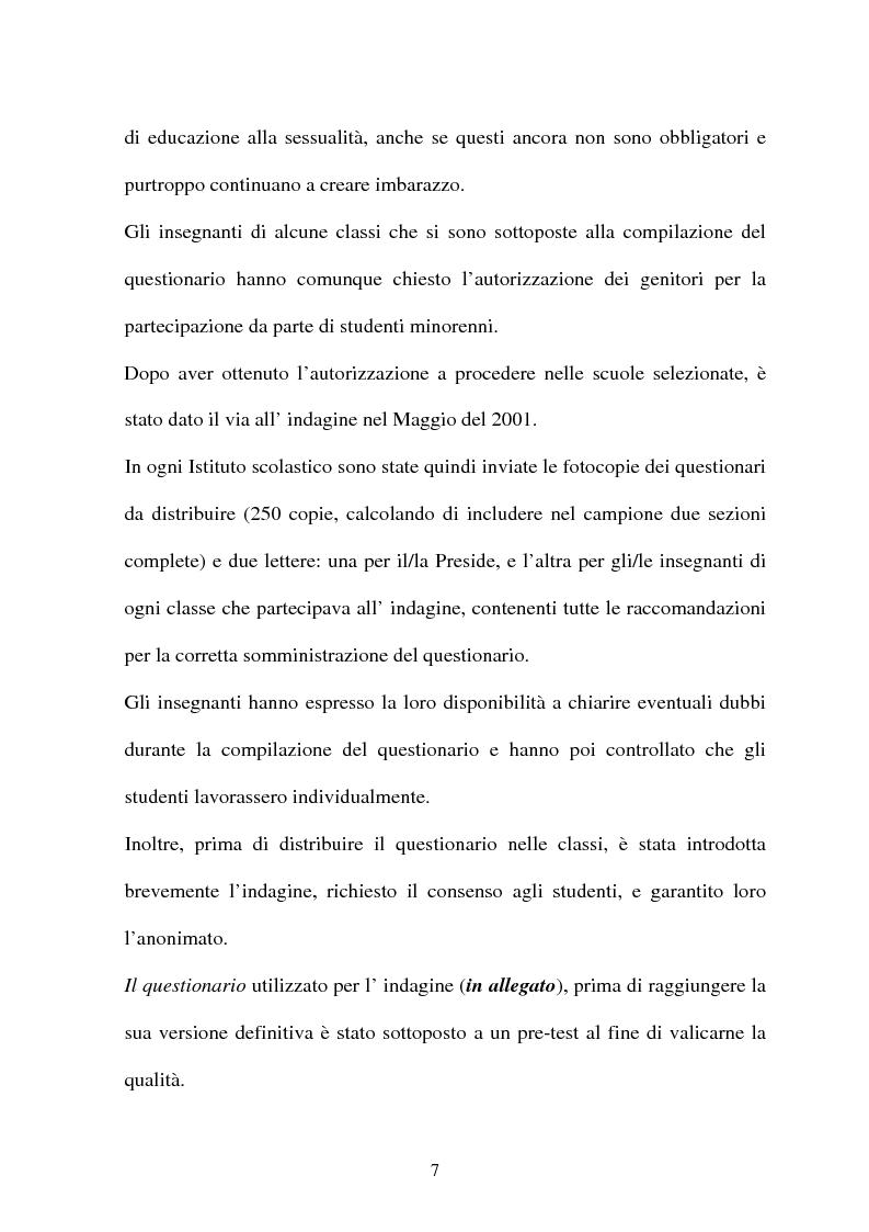 Anteprima della tesi: Adolescenti e informazione sessuale - Indagine conoscitiva tra 873 giovani del Nord, Centro e Sud Italia, Pagina 7