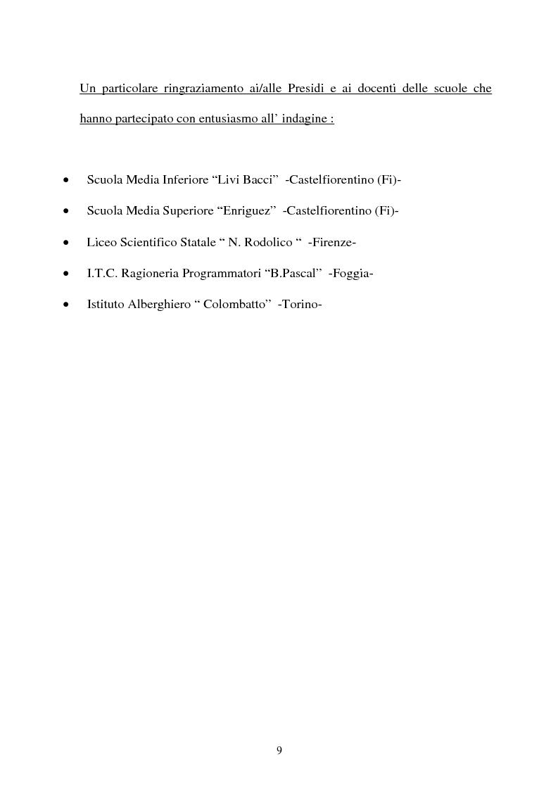 Anteprima della tesi: Adolescenti e informazione sessuale - Indagine conoscitiva tra 873 giovani del Nord, Centro e Sud Italia, Pagina 9