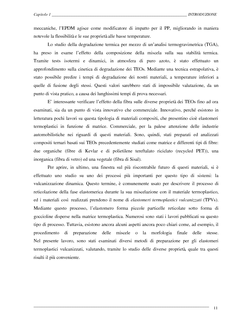 Anteprima della tesi: Caratterizzazione ed ottimizzazione di elastomeri termoplastici a base di polipropilene e gomma Epdm, Pagina 11