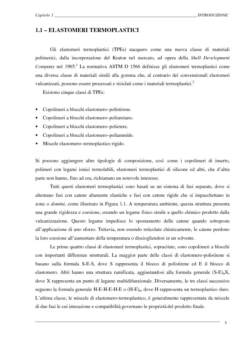 Anteprima della tesi: Caratterizzazione ed ottimizzazione di elastomeri termoplastici a base di polipropilene e gomma Epdm, Pagina 3