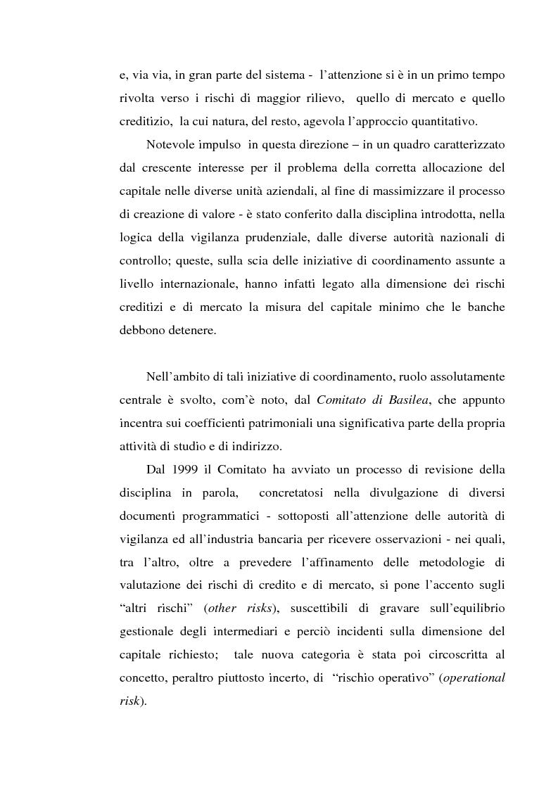 Anteprima della tesi: La gestione dei rischi operativi nelle aziende di credito - Linee evolutive nella prospettiva del ''Nuovo Accordo di Basilea'', Pagina 2