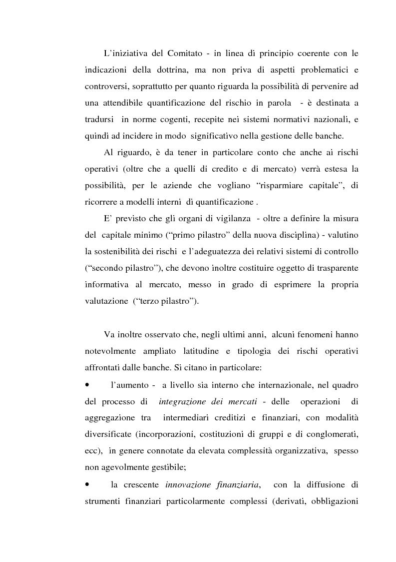 Anteprima della tesi: La gestione dei rischi operativi nelle aziende di credito - Linee evolutive nella prospettiva del ''Nuovo Accordo di Basilea'', Pagina 3