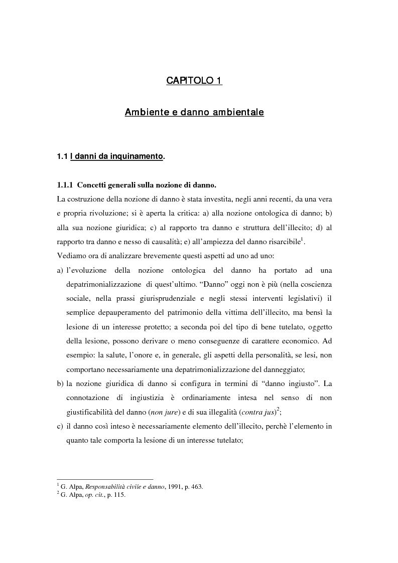 Anteprima della tesi: Il danno ambientale: sistemi di valutazione metodi di ripristino, Pagina 8