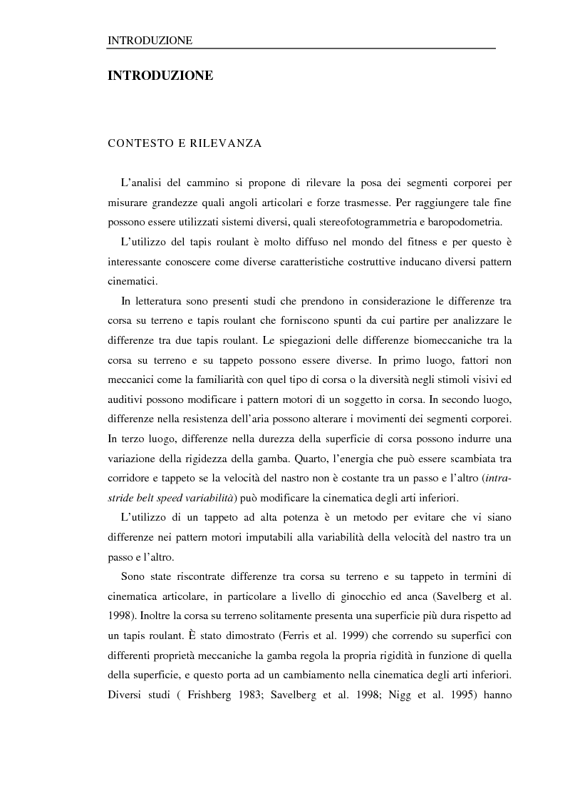 Anteprima della tesi: Analisi del cammino su tapis roulant: influenza della cedevolezza del tappeto, Pagina 1
