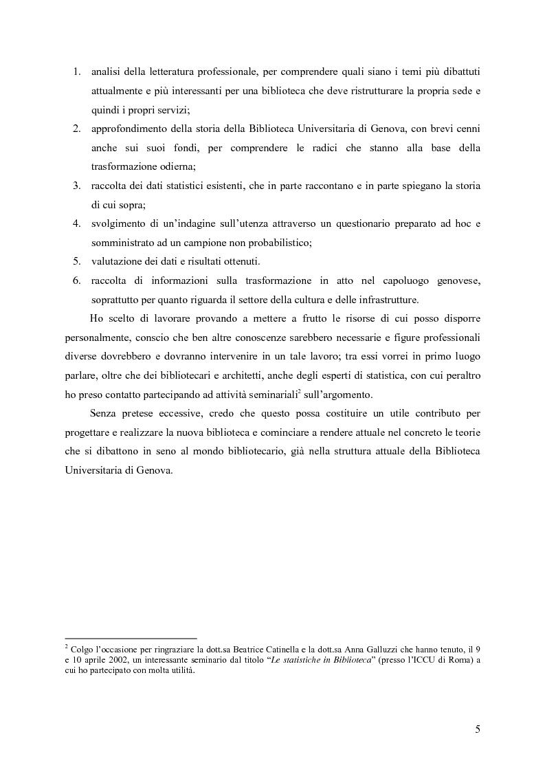 Anteprima della tesi: Materiali biblioteconomici per la nuova biblioteca universitaria di Genova. Avvio di un'indagine, Pagina 2
