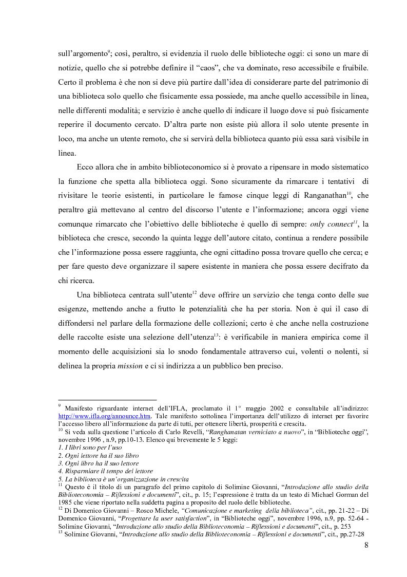 Anteprima della tesi: Materiali biblioteconomici per la nuova biblioteca universitaria di Genova. Avvio di un'indagine, Pagina 5