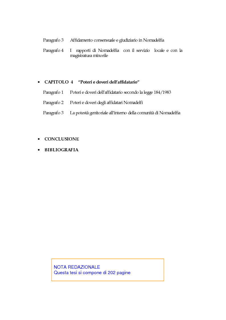 Indice della tesi: L'affidamento familiare: l'esperienza della comunità di Nomadelfia, Pagina 2