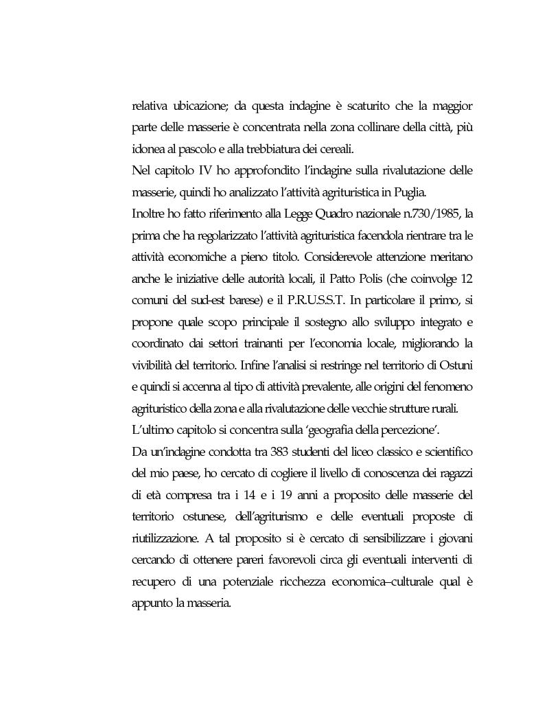 Anteprima della tesi: Vecchie strutture e nuove funzioni per uno sviluppo autocentrato: le masserie di Ostuni (Br), Pagina 4