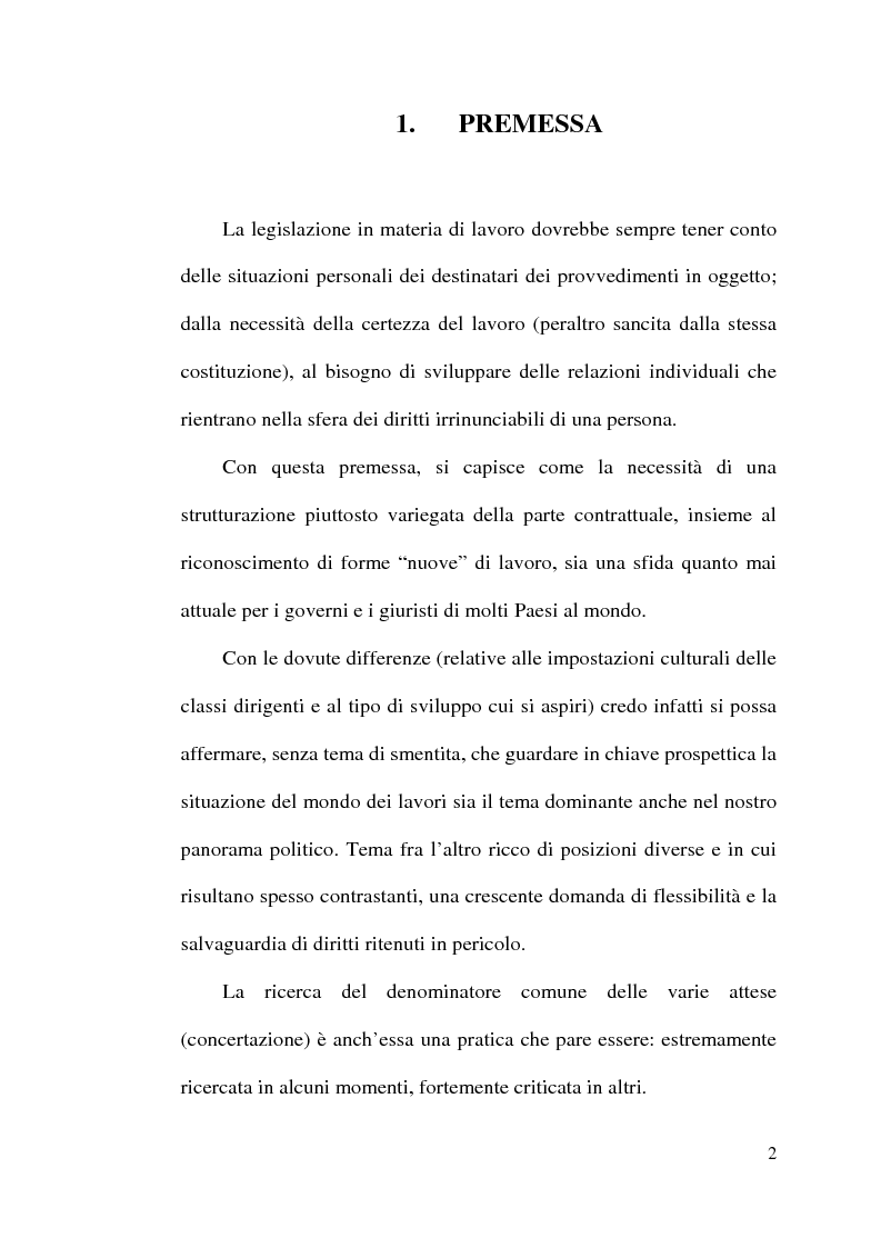 Anteprima della tesi: La disciplina del lavoro a tempo parziale: il d. lgs. n. 61 del 2000, Pagina 1
