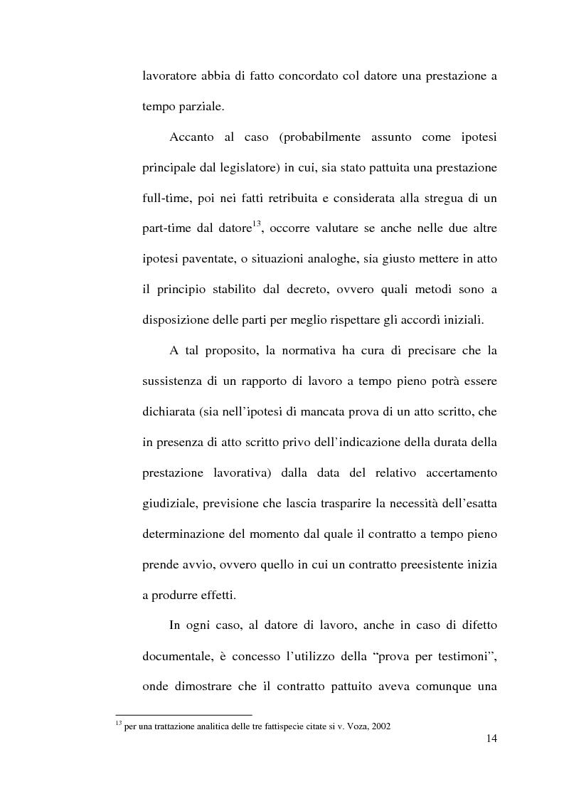 Anteprima della tesi: La disciplina del lavoro a tempo parziale: il d. lgs. n. 61 del 2000, Pagina 13