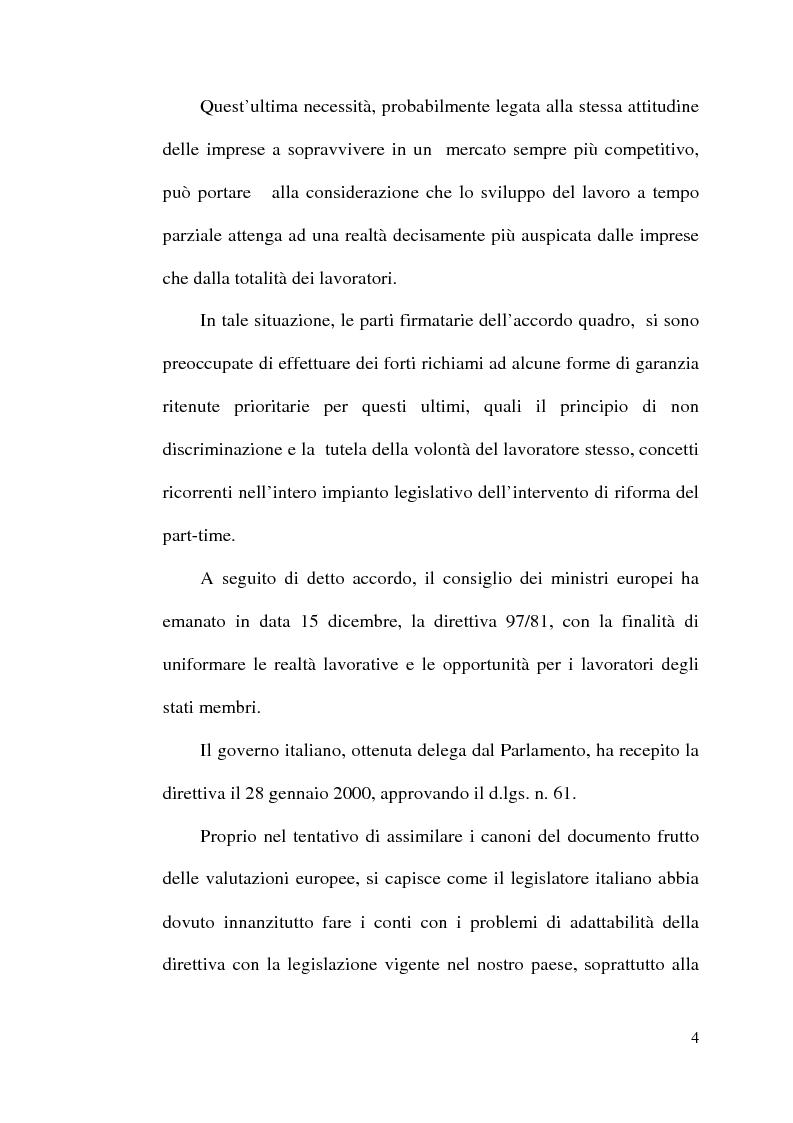 Anteprima della tesi: La disciplina del lavoro a tempo parziale: il d. lgs. n. 61 del 2000, Pagina 3