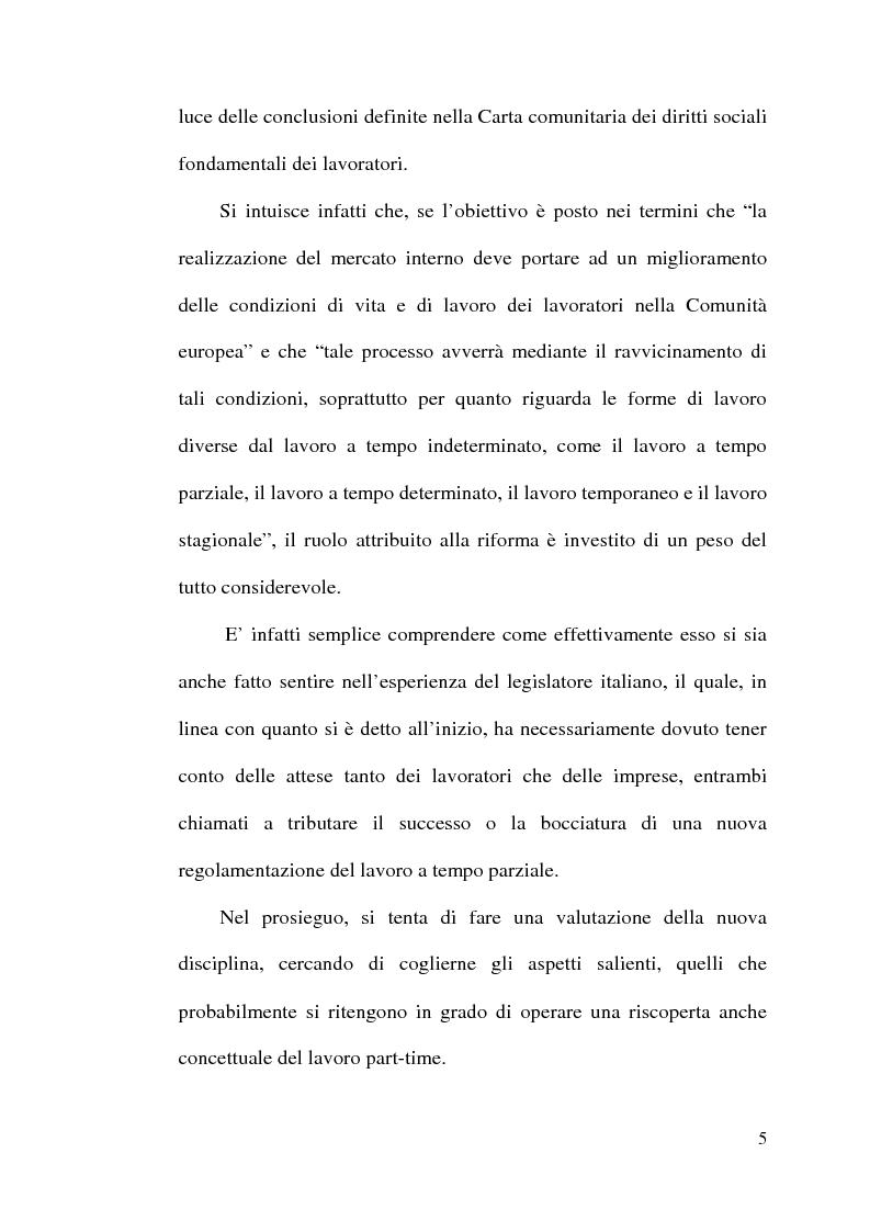 Anteprima della tesi: La disciplina del lavoro a tempo parziale: il d. lgs. n. 61 del 2000, Pagina 4