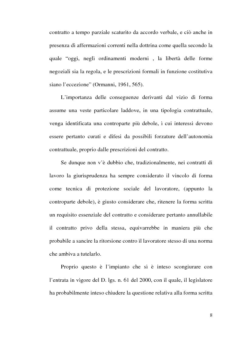 Anteprima della tesi: La disciplina del lavoro a tempo parziale: il d. lgs. n. 61 del 2000, Pagina 7