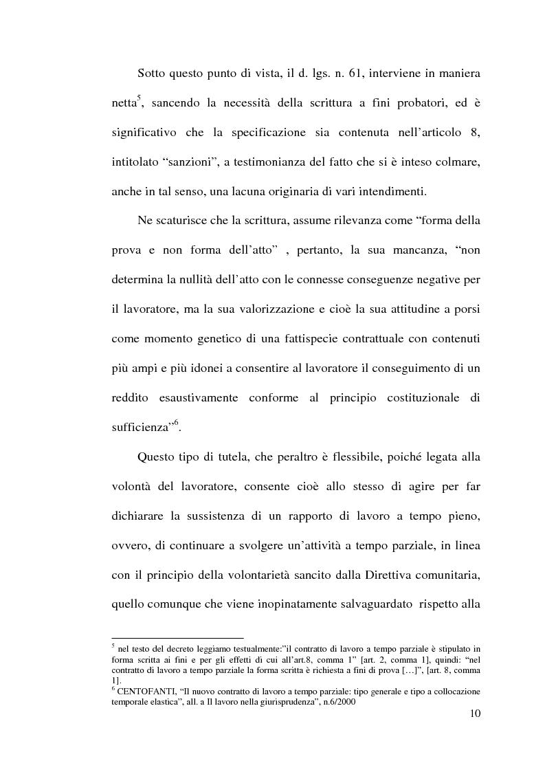 Anteprima della tesi: La disciplina del lavoro a tempo parziale: il d. lgs. n. 61 del 2000, Pagina 9
