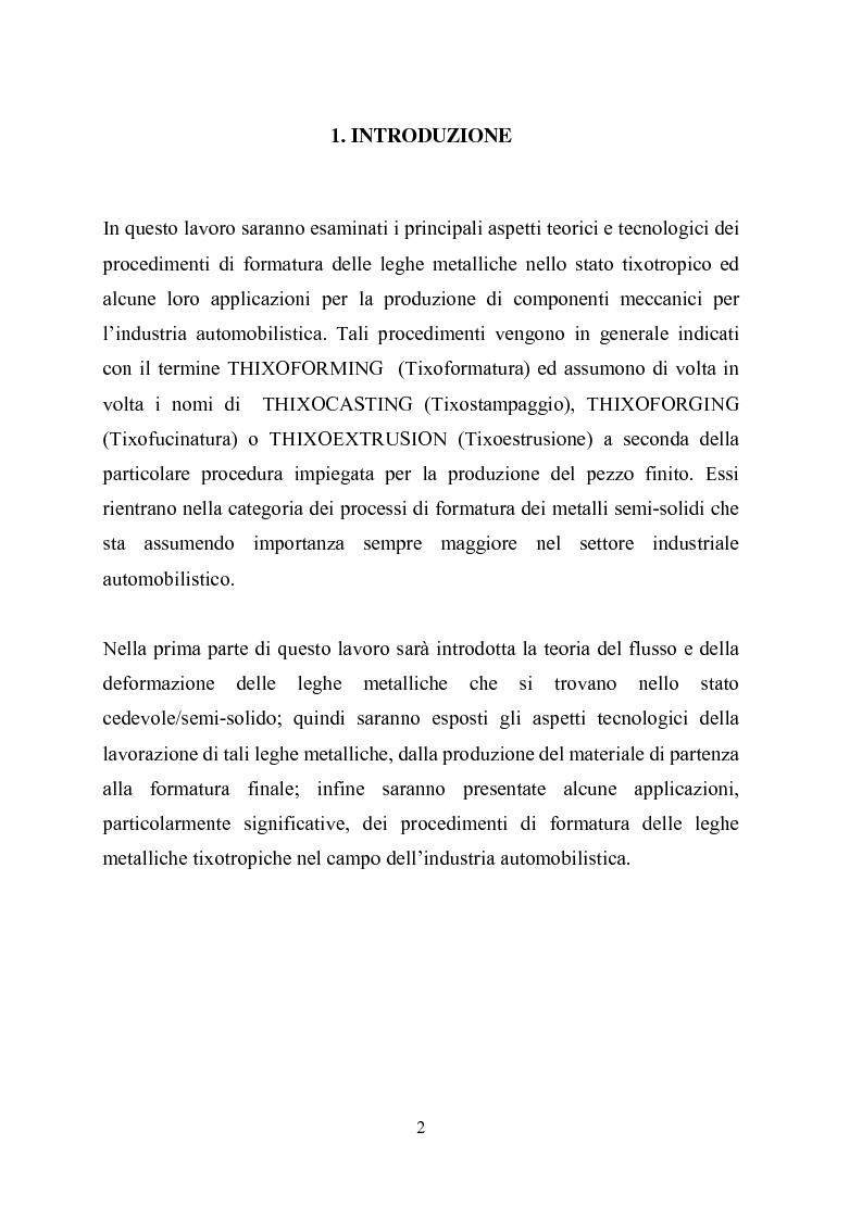 Anteprima della tesi: Procedimenti di tixoformatura di leghe metalliche per componenti automobilistici, Pagina 1