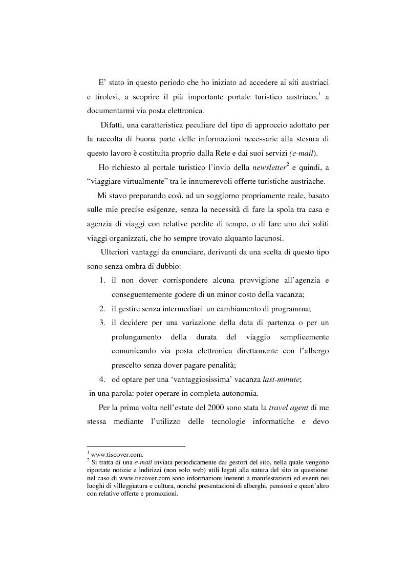 Anteprima della tesi: Innovazioni tecnologiche, marketing e turismo. Il sito web del Tirolo austriaco, Pagina 3