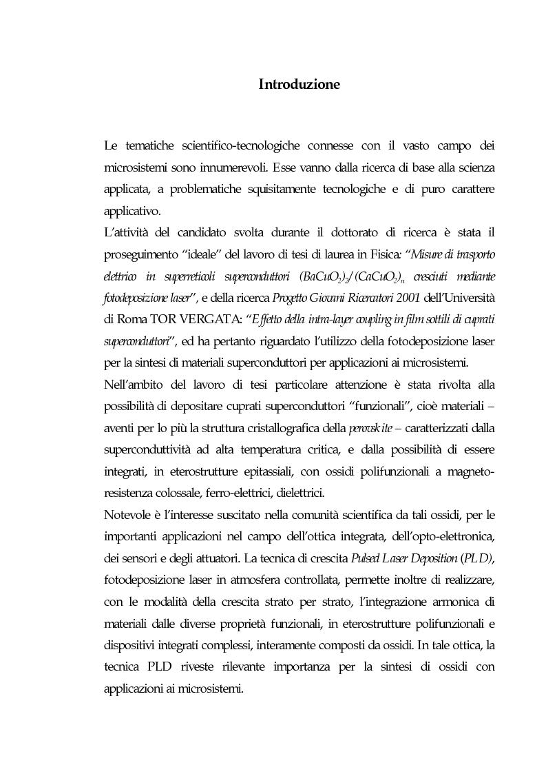 Anteprima della tesi: Realizzazione di eterostrutture epitassiali tramite fotodeposizione laser di ossidi superconduttori per applicazioni alla microelettronica, Pagina 1