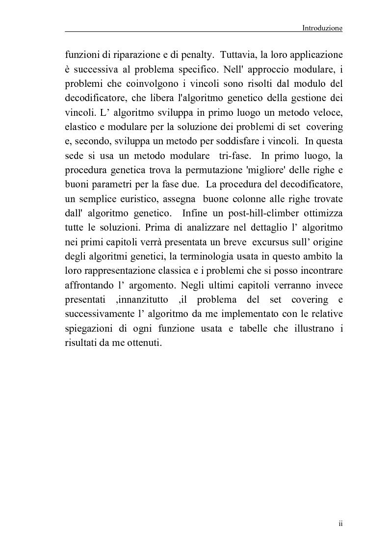 Anteprima della tesi: Algoritmo genetico per il problema del set covering, Pagina 2