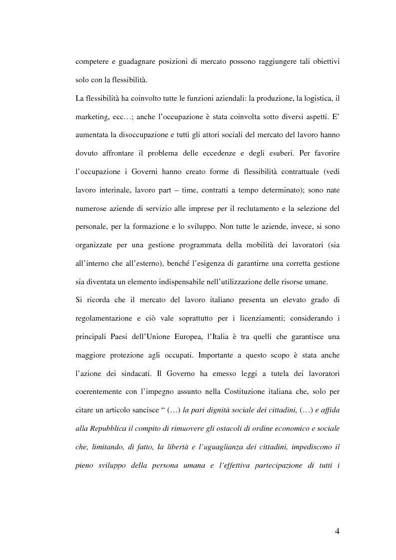 Anteprima della tesi: Riqualificazione professionale e ricollocazione del personale in esubero: outplacement individuale e collettivo, Pagina 4