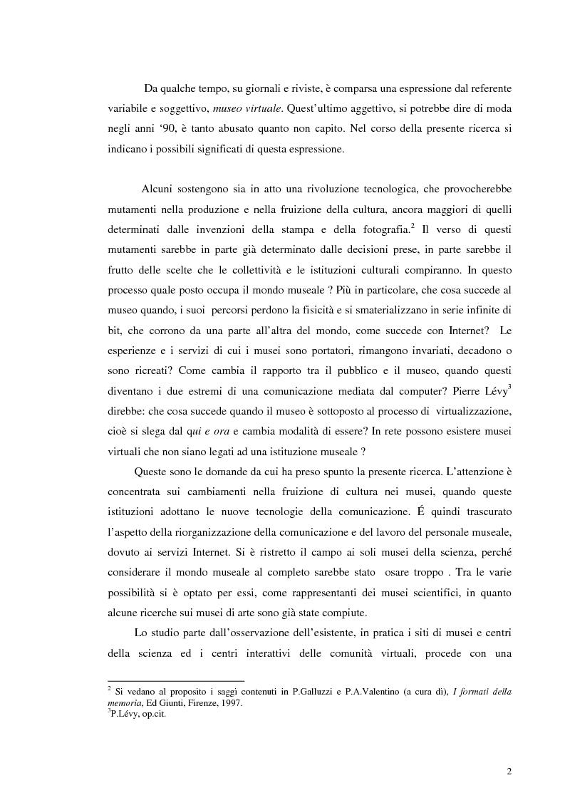 Anteprima della tesi: I musei della scienza e l'ambiente Internet, Pagina 2