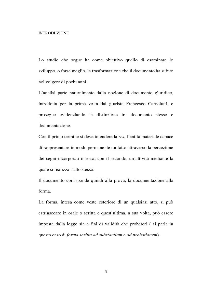 Anteprima della tesi: Dal documento cartaceo al documento informatico, Pagina 1