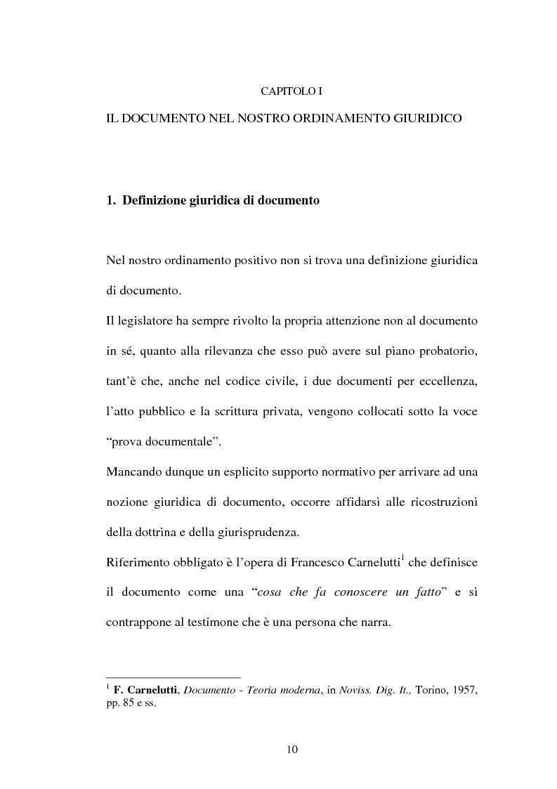 Anteprima della tesi: Dal documento cartaceo al documento informatico, Pagina 8