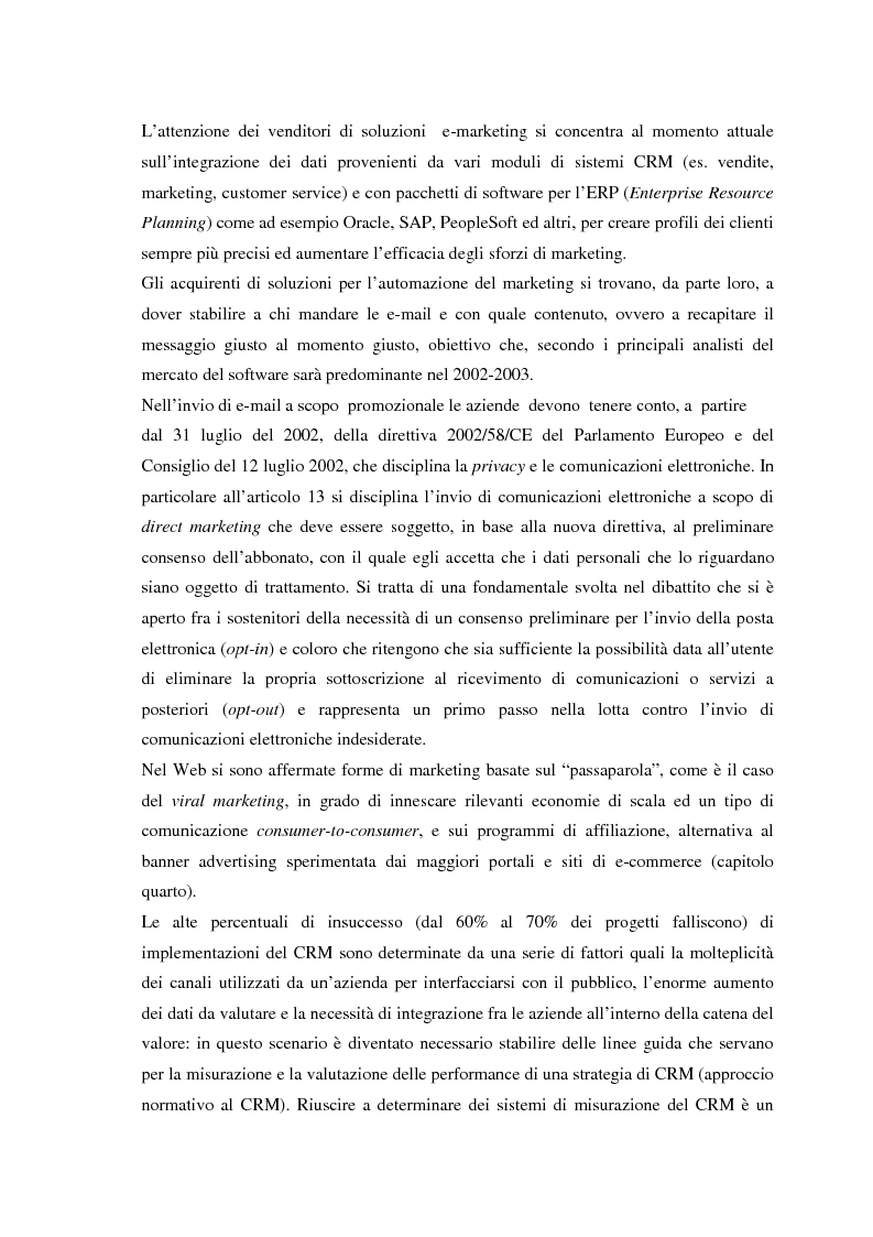 Anteprima della tesi: Il CRM, rapporti con il marketing, evoluzione nel web e modelli per un approccio normativo. Il caso The Health Hub, Pagina 3