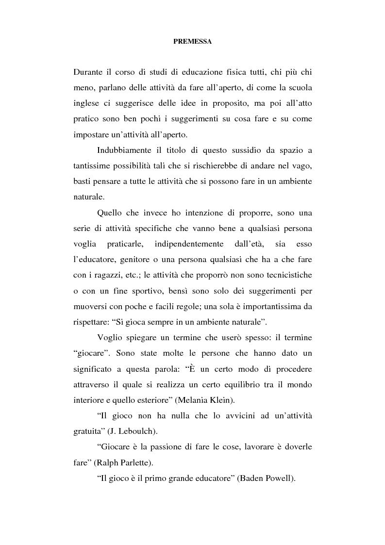 Anteprima della tesi: Educazione al movimento in ambiente naturale, Pagina 1